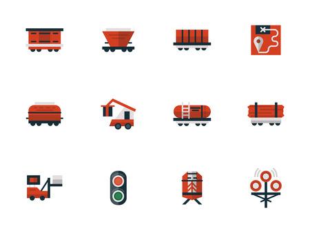 flatcar: Railway flat design red vector icons