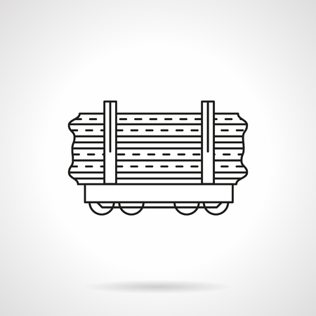 flatcar: Wood rail freights flat line vector icon