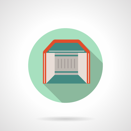 Trade show booth flat round vector icon Illustration