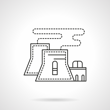 Nuclear power plant flat line vector icon Illustration