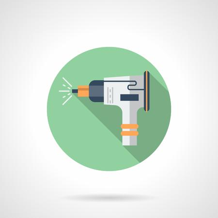 Sandblasting equipment flat round vector icon Illustration