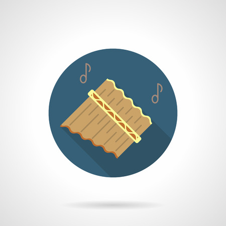 Pan flute music flat round vector icon