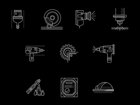 Metal processing flat white line vector icons set Illustration