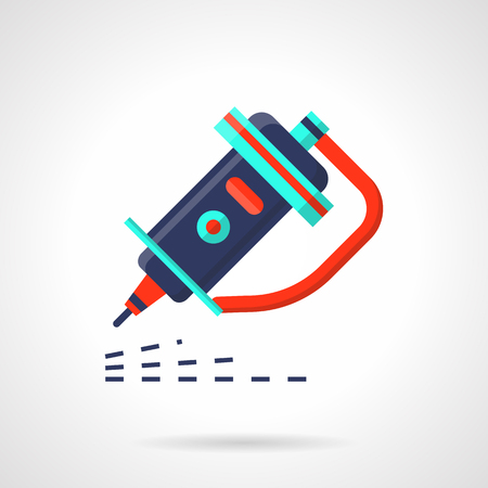 machining: Industrial engraver flat color vector icon Illustration