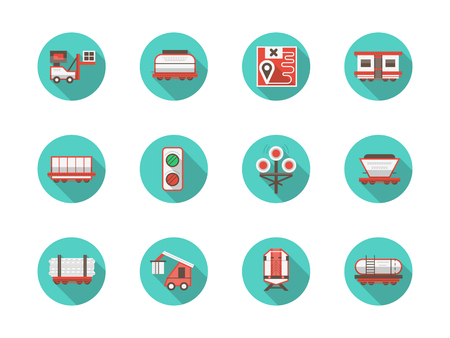 Railway platforms round flat blue vector icons set