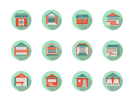 newsstand: Kiosk and marquees round flat color vector icons Illustration
