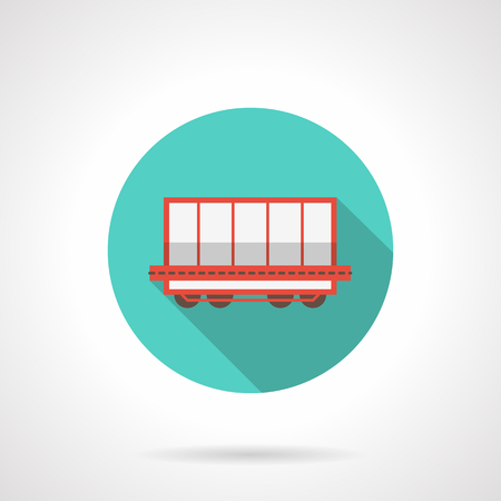 boxcar: Open boxcar blue round vector icon