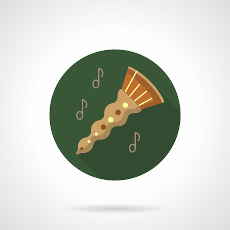 Oboe melody flat color round vector icon