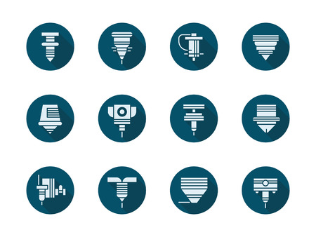 CNC laser machines round flat color vector icons