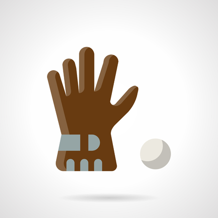 Brown glove and ball flat color icon. Illustration