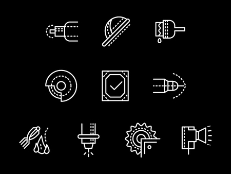 Metalworking elements white line icons set.