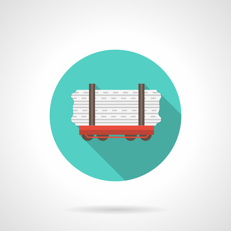 Railway carriage blue round vector icon