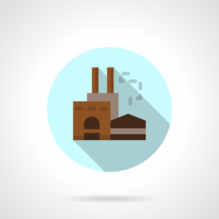 industrial complex: Woodworking factory flat round vector icon