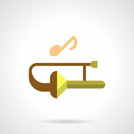 Brass wind music festival flat color vector icon