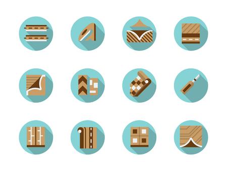 flooring: Linoleum store symbols. Materials and equipment for floor decoration, flooring, construction and renovation works.
