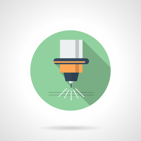 Metal processing laser flat round vector icon