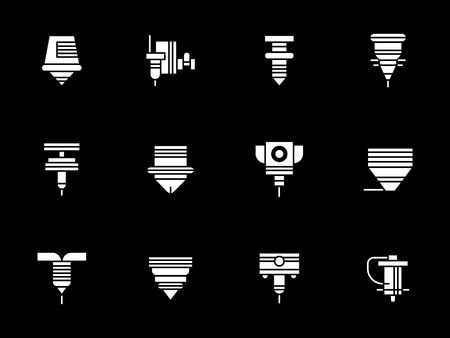 Collection of different robotic laser machines. Industrial automated equipment and technology. Symbolic white glyph style vector icons set on black. Illustration