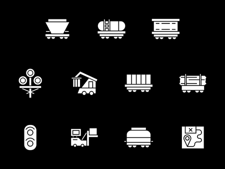 Collection of railroad transportation elements. Rail car types, traffic lights, logistic. Symbolic white glyph style vector icons set on black. Illustration