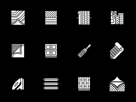 Construction materials white glyph vector icons