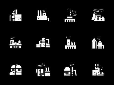 White glyph vector icons for industrial factories