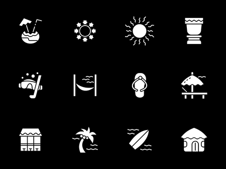 Holiday on exotic beach white glyph vector icons Illustration
