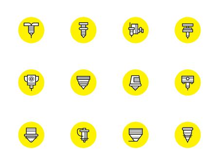 Abstrakte Symbole von Roboter-CNC-Lasern. Industrieschneiden, Schweißen und Schmelzen, Oberflächenverarbeitung. Gelbe Runde Zeichen mit schwarzen einfachen Linie Design Vektor Symbole.
