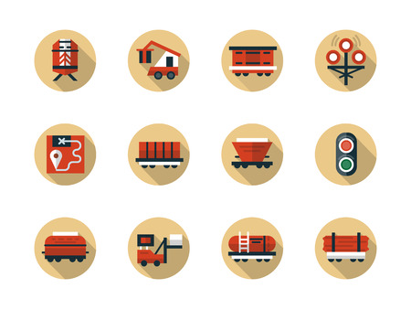 hopper: Symbols of train cargo shipment. Rail car types for railroad transportation of different freights. Collection of stylish flat round beige vector icons.