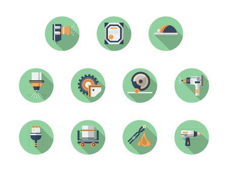 Metal workshop equipment round flat vector icons Illustration