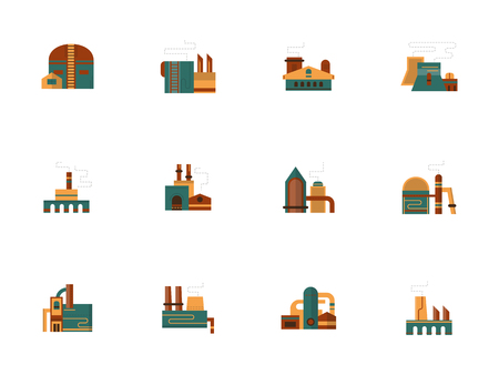 Industrial facility flat color vector icons set Illustration