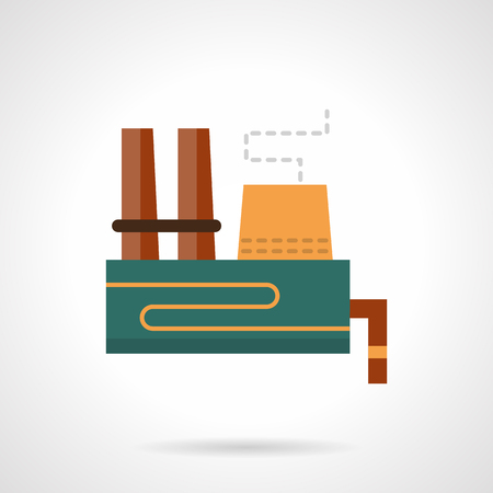 Heavy industry plant flat color vector icon