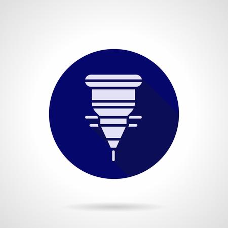 Laserschneidkopf blau runde Vektor-Symbol