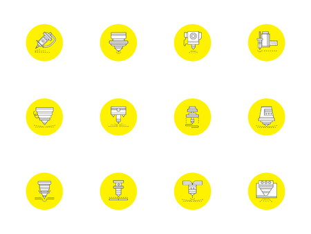 Laser technology round yellow vector icons set