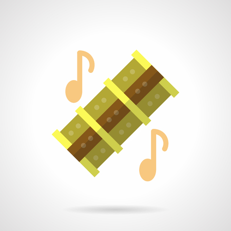 zampona: Musical reed pipes flat color vector icon Vectores