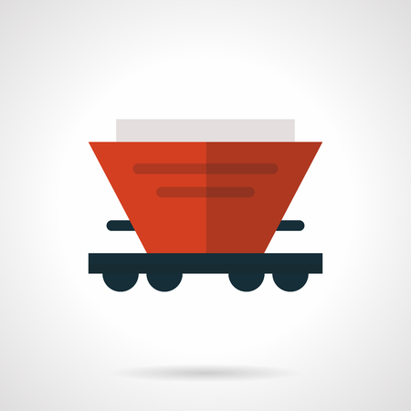 hopper: Red hopper wagon flat vector icon