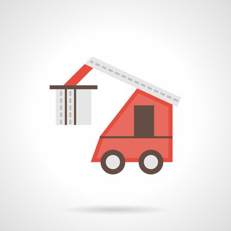 shipments: Red loading truck flat color vector icon