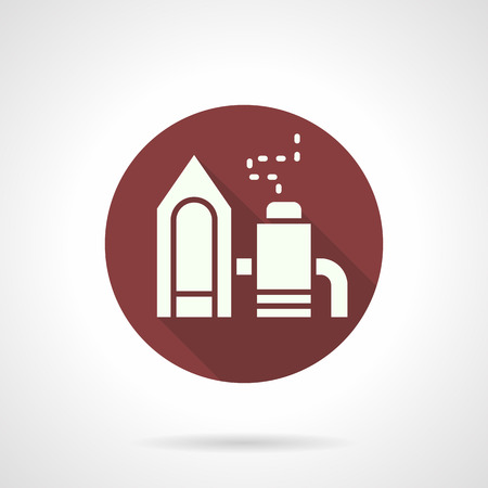 manufactory: Industrial factory burgundy round vector icon Illustration
