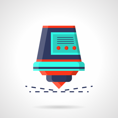 the workpiece: Industrial laser with sparks flat vector icon Illustration