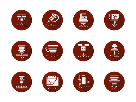 Laser machine heads round red vector icons set
