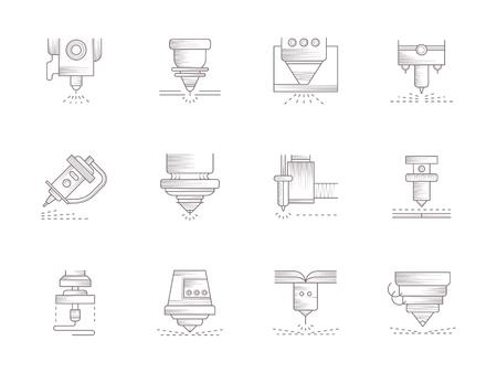 Lasers vintage vector pictogrammen instellen