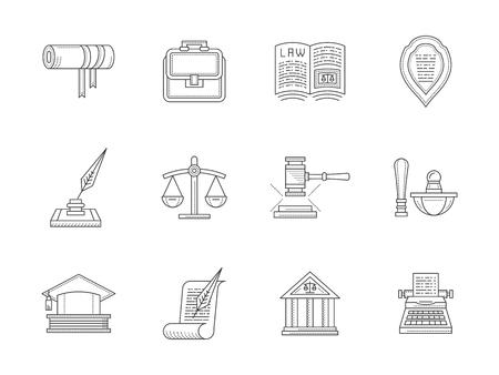 civil rights: Jurisprudence flat line vector icons set