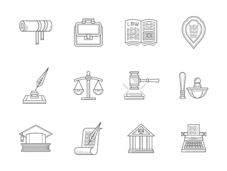 Jurisprudence flat line vector icons set