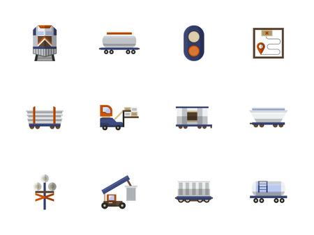 Satz von Symbolen für die Eisenbahn. Verschiedene Schienenfahrzeuge, Frachttransport, Logistik und Verladung. Sammlung von stilvollen flachen Farbe Vektor-Icons.