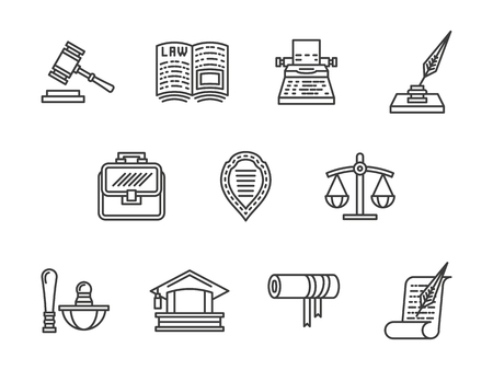 scale of justice: Justice and law black line vector icons set.
