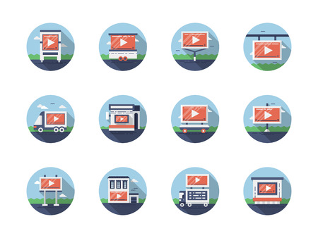web marketing: Symbols of video marketing. Elements of outdoor advertising, online broadcasting, info show and others. Collection of stylish round flat color vector icons.