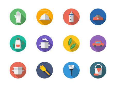 laundry care symbol: Symbols of housekeeping staff or domestic personnel. Maid, cook, nurse, driver and gardener. Collection of round simple style flat colorful vector icons.