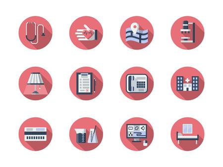 Symboles du soutien médical et des services de soins de santé. Cardiologie, recherche en laboratoire, examen moderne. Collection d'icônes vectorielles rond élégant plat couleur.