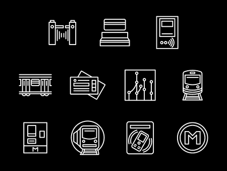 Abstract symbols of subway station. Entrance gate, scheme, rail train and other metro elements. Set of simple white line design vector icons on black. Illustration