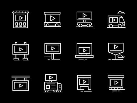 Abstract symbols for objects and places for video advertising. Billboard, display on buildings and stores, movable monitors and others. Set of simple white line design vector icons on black.