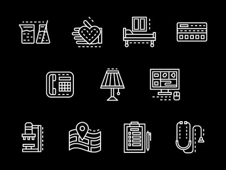 医療の抽象化されたシンボルです。ヘルスケアの概念。研究、検査、治療など医療サービス。黒のシンプルな白いライン デザイン ベクトルのアイコ