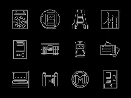 Symbols of urban subway. Transportation elements, metro platform objects and services. Set of white flat line design vector icons on black background. Illustration